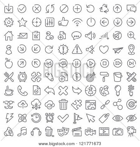 100 Vector Icons Set For Web Design And User Interface