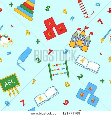 Seamless children's background. Seamless vector illustration. Cute seamless pattern with elements fo