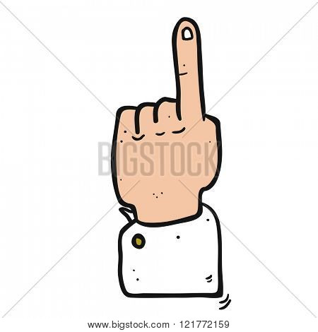 freehand drawn cartoon pointing hand isolated on white