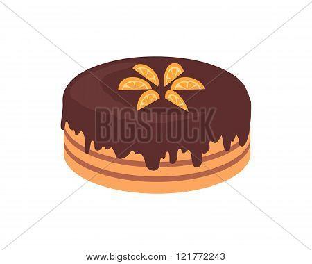 Cake Chocolate Isolated Design Flat