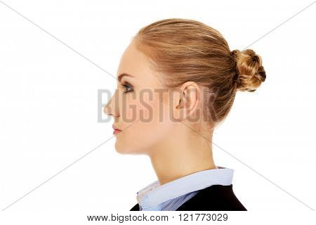 Profile of young blonde business woman