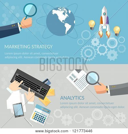 Analytics And Marketing Banners Startup