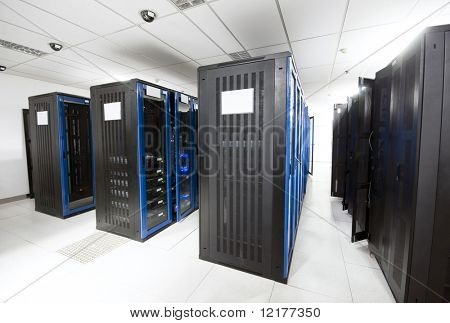 A server room with black servers