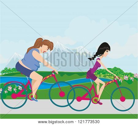 Overweight Woman And Her Slim Friend Riding On Bicycles