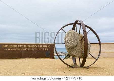 Horseshoe Bay Shipwreck Locations monument situated at Port Elliot South Australia overlooking Horseshoe Bay.