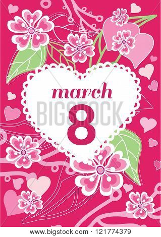 Greeting Card 8 March Woman Day