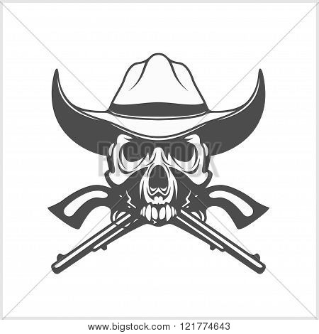 Gangster skull with cowboy hat and pistols