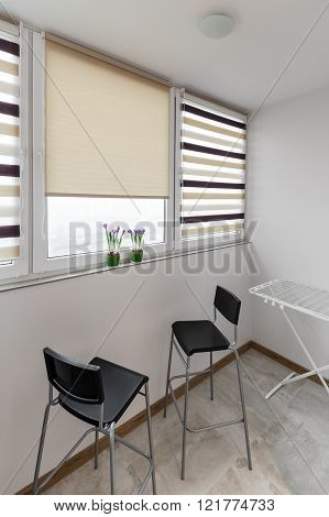 Balcony Interior With Chairs In Scandinavian Style