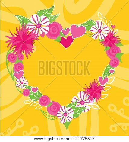 Flower Heart Frame Text Insertion