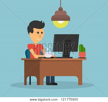Man Work with Computer Design Flat