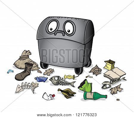 alive dustbin character waste garbage trash illustration