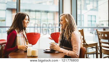 Friends having a cup of coffee in cafe