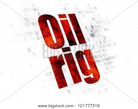 Manufacuring concept: Oil Rig on Digital background