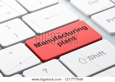 Industry concept: Manufacturing Plant on computer keyboard background