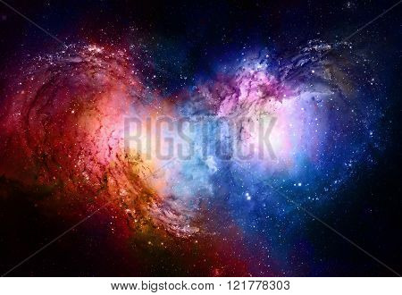 Nebula, Cosmic space and stars, blue cosmic abstract background. Elements of this image furnished by NASA