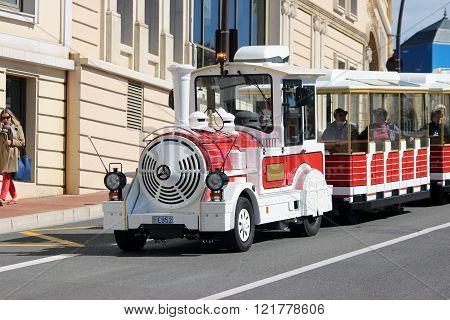 Red Trackless Train In Monte-carlo, Monaco