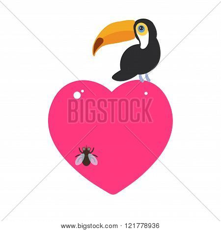 Cute Cartoon toucan bird and the fly Card design with a funny animal with pink heart on a white back