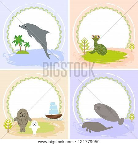 dolphin, snake, manatees, seals, set of cards design  with funny animals, template banner for your t