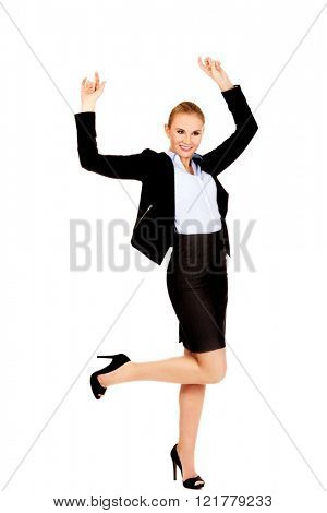 Happy young blonde business woman