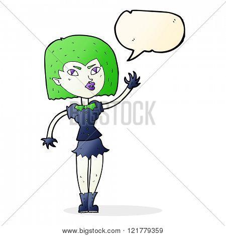 cartoon pretty vampire girl with speech bubble