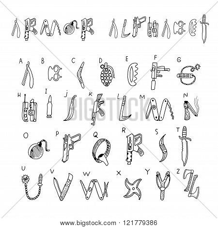 Armor alphabet. Doodle set in vector isolated on a white background.