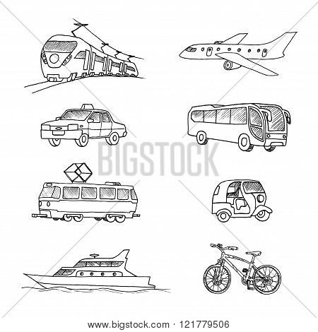 Passenger transport . Doodle set. Isolated on a white background.