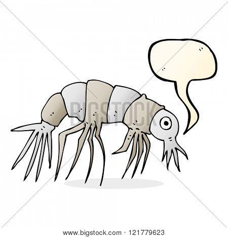 cartoon shrimp with speech bubble