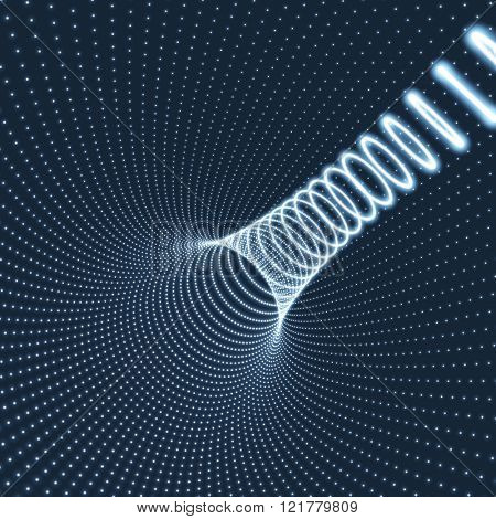 Abstract Tunnel Grid. Futuristic Technology Style. 3D Surface Looks Like Funnel. Glowing Points Form Tunnel Sectors. Turning Tube Tunnel. 3d Abstract Tunnel or Tube. Perspective Grid Background.