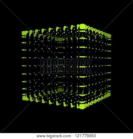 Cube. The Cube Consisting of Points. Connection Structure. Wireframe Cube Illustration. 3d Grid Design. A Glowing Grid. 3D Technology Style. Molecular lattice. Network Design. Cyberspace Grid.
