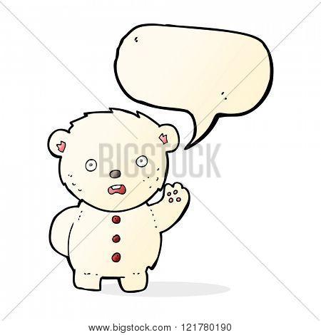 cartoon unhappy polar teddy bear with speech bubble