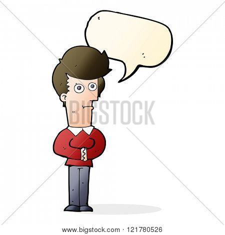 cartoon man staring with speech bubble