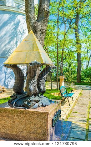 ODESSA UKRAINE - MAY 18 2015: The monument dedicated to the museum stuff called