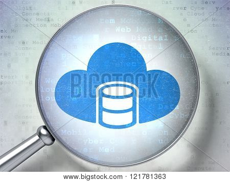 Cloud technology concept: Database With Cloud with optical glass on digital background
