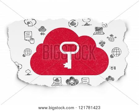 Cloud networking concept: Cloud With Key on Torn Paper background