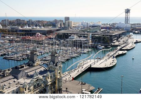 Aerial view of Rambla De Mar and Port Vell in Barcelona