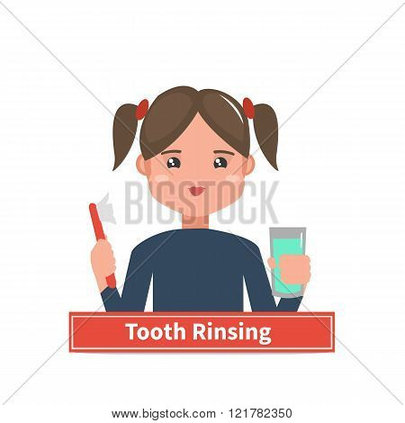 Vector illustration. Little girl rinsing her tooth. Child brushing teeth.