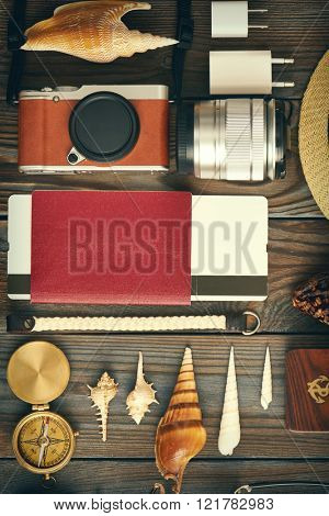 Travel items flat lay still life  poster