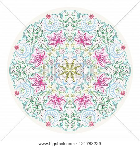 Colorful Round Lacy Tantric Ornament