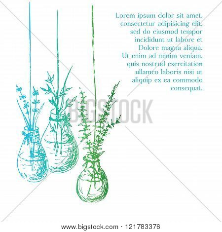 Herbs In Hanging Bulb Form Vases