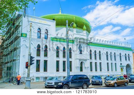 ODESSA UKRAINE - MAY 18 2015: The beautiful Al Salam mosque is the pearl of the city architecture on May 18 in Odessa.