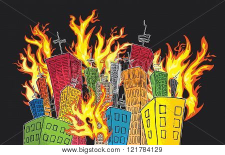 cartoon colored houses in fire vector illustration