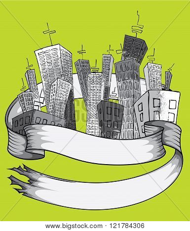 cartoon city grey texture skyscrapers with paper ribbon