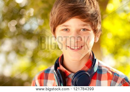 Smiling teen boy closeup