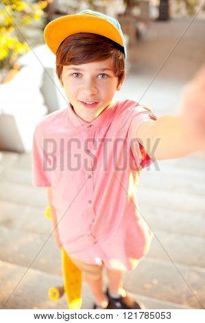 Boy making selfie