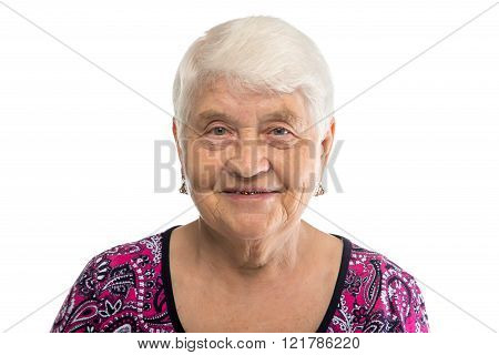 Portrait of elderly lady with white hair