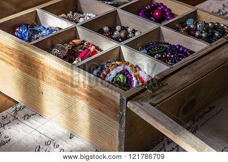 Bijouterie In Wooden Box