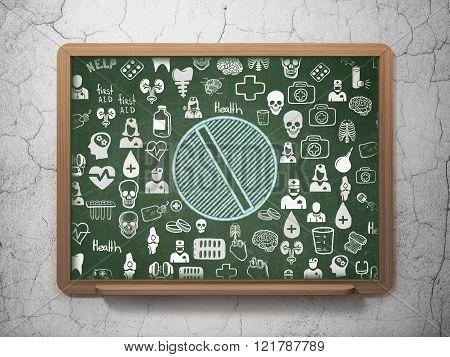 Health concept: Pill on School Board background