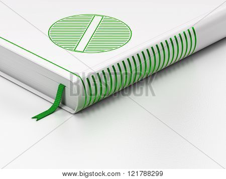 Healthcare concept: closed book, Pill on white background