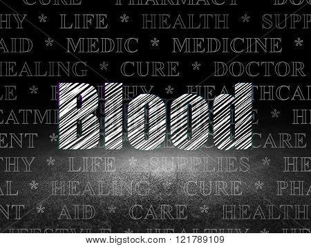 Medicine concept: Blood in grunge dark room