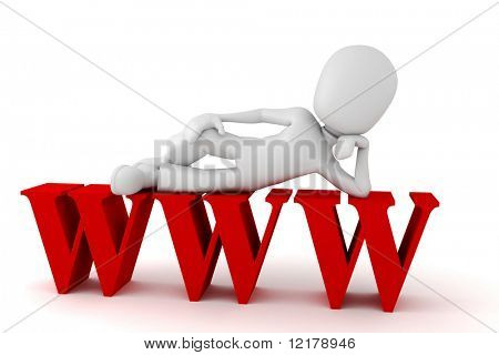 3d man on top of the www